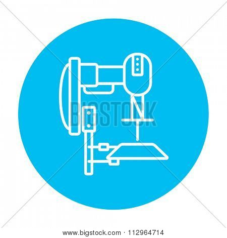 Industrial automated robot line icon for web, mobile and infographics. Vector white icon on the light blue circle isolated on white background.