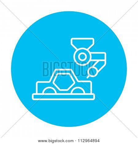 Automated assembly line for cars line icon for web, mobile and infographics. Vector white icon on the light blue circle isolated on white background.