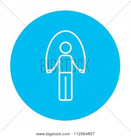 Man exercising with skipping rope line icon for web, mobile and infographics. Vector white icon on the light blue circle isolated on white background.