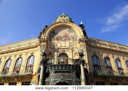 The Municipal House, Art Nouveau Building, Theater And Opera House, Prague, Czech Republic.