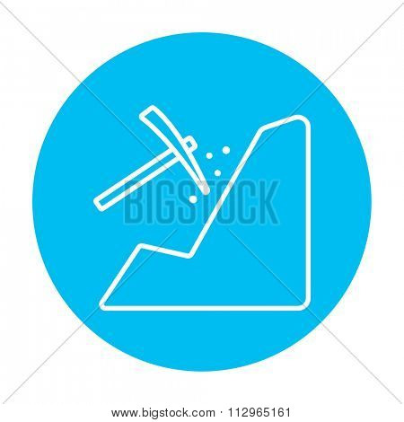 Mining line icon for web, mobile and infographics. Vector white icon on the light blue circle isolated on white background.
