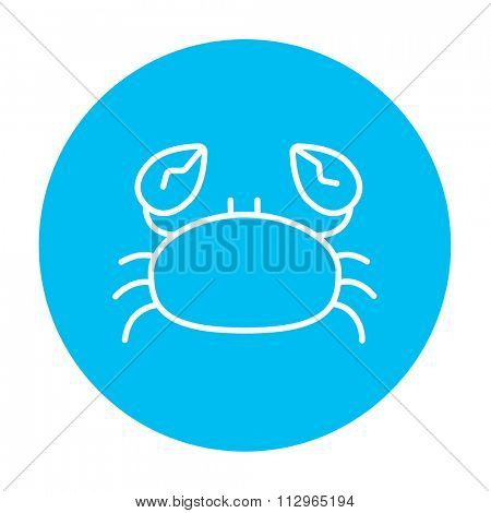 Crab line icon for web, mobile and infographics. Vector white icon on the light blue circle isolated on white background.