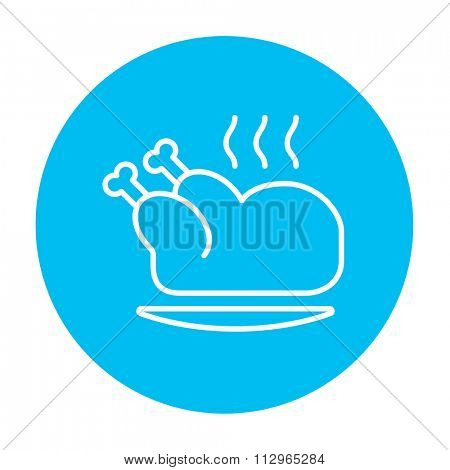 Baked whole chicken line icon for web, mobile and infographics. Vector white icon on the light blue circle isolated on white background.
