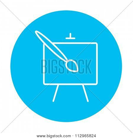 Easel and paint brush line icon for web, mobile and infographics. Vector white icon on the light blue circle isolated on white background.