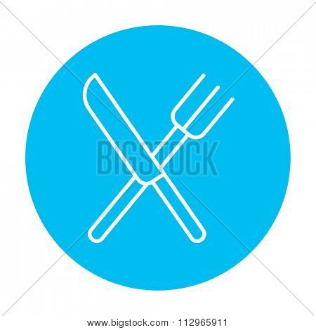 Crossed  knife and fork line icon for web, mobile and infographics. Vector white icon on the light blue circle isolated on white background.