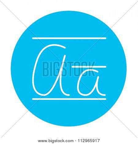 Cursive letter a line icon for web, mobile and infographics. Vector white icon on the light blue circle isolated on white background.