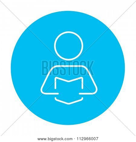 Man reading a book line icon for web, mobile and infographics. Vector white icon on the light blue circle isolated on white background.