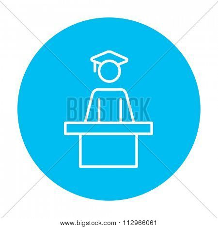 Graduate standing near tribune line icon for web, mobile and infographics. Vector white icon on the light blue circle isolated on white background.