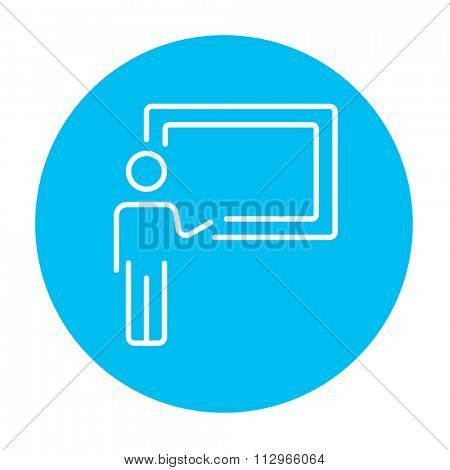Professor pointing at blackboard line icon for web, mobile and infographics. Vector white icon on the light blue circle isolated on white background.