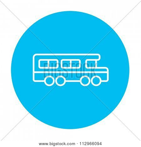 School bus line icon for web, mobile and infographics. Vector white icon on the light blue circle isolated on white background.