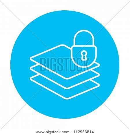 Stack of papers with lock line icon for web, mobile and infographics. Vector white icon on the light blue circle isolated on white background.