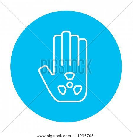 Ionizing radiation sign on a palm line icon for web, mobile and infographics. Vector white icon on the light blue circle isolated on white background.