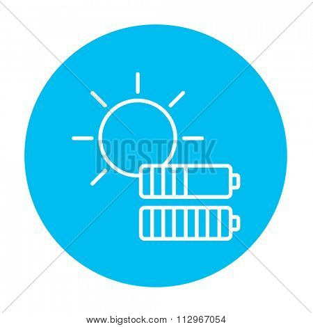 Sun with two batteries line icon for web, mobile and infographics. Vector white icon on the light blue circle isolated on white background.