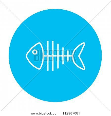 Fish skeleton line icon for web, mobile and infographics. Vector white icon on the light blue circle isolated on white background.