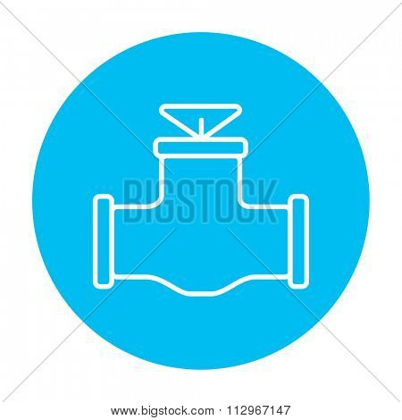 Gas pipe valve line icon for web, mobile and infographics. Vector white icon on the light blue circle isolated on white background.