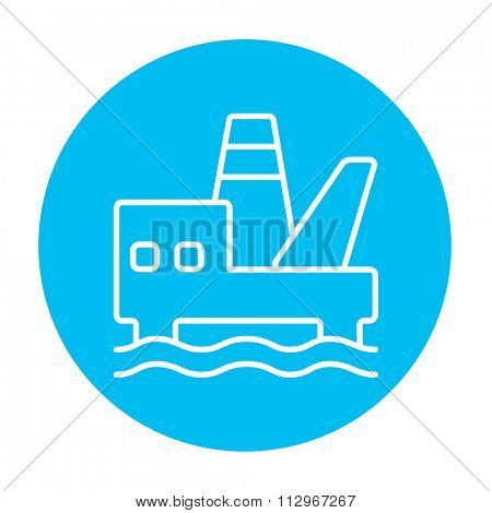 Offshore oil platform line icon for web, mobile and infographics. Vector white icon on the light blue circle isolated on white background.