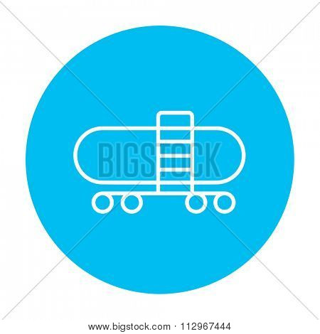 Railway cistern line icon for web, mobile and infographics. Vector white icon on the light blue circle isolated on white background.
