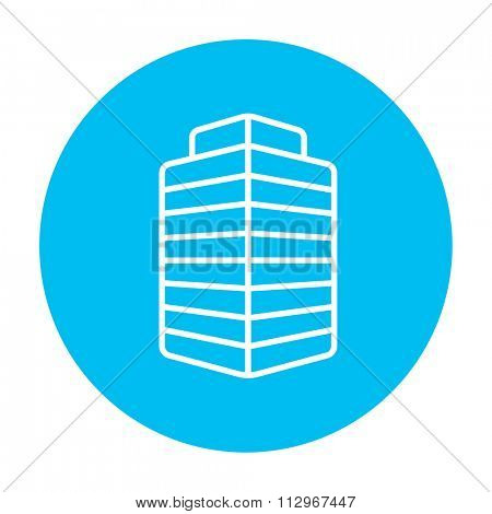 Office building line icon for web, mobile and infographics. Vector white icon on the light blue circle isolated on white background.