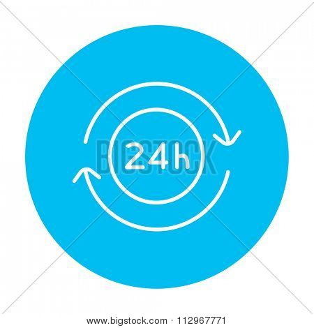 Service 24 hrs line icon for web, mobile and infographics. Vector white icon on the light blue circle isolated on white background.