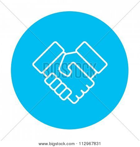 Handshake line icon for web, mobile and infographics. Vector white icon on the light blue circle isolated on white background.