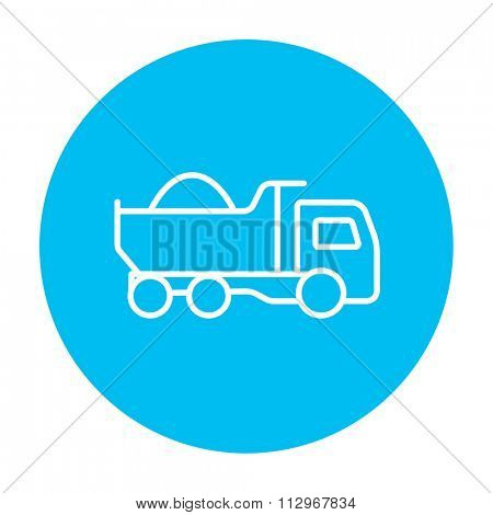 Dump truck line icon for web, mobile and infographics. Vector white icon on the light blue circle isolated on white background.