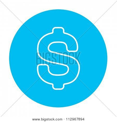 Dollar symbol line icon for web, mobile and infographics. Vector white icon on the light blue circle isolated on white background.