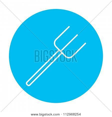 Pitchfork line icon for web, mobile and infographics. Vector white icon on the light blue circle isolated on white background.