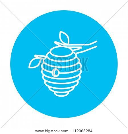 Bee hive line icon for web, mobile and infographics. Vector white icon on the light blue circle isolated on white background.