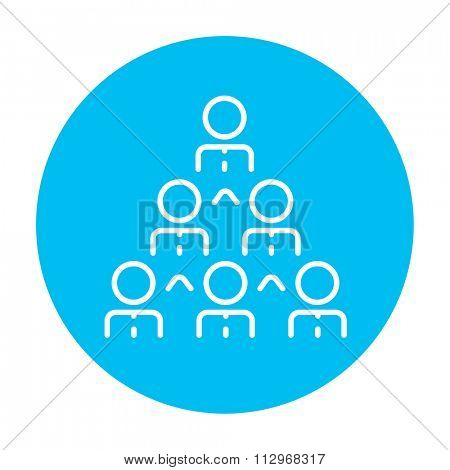 Business pyramid  line icon for web, mobile and infographics. Vector white icon on the light blue circle isolated on white background.