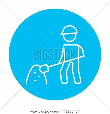 Man with shovel and hill of sand line icon for web, mobile and infographics. Vector white icon on the light blue circle isolated on white background.