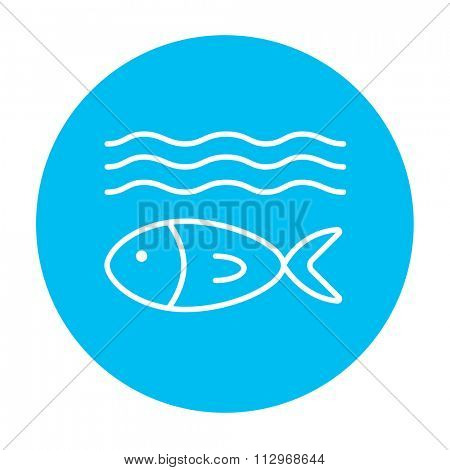 Fish under water line icon for web, mobile and infographics. Vector white icon on the light blue circle isolated on white background.