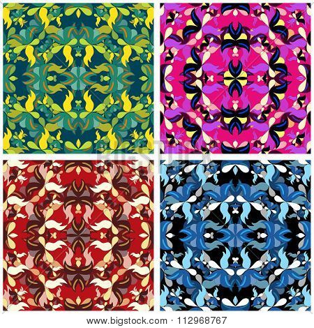 Flowers Beautiful Pattern Collection Vector Illustration