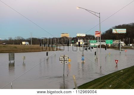 VALLEY PARK, MO/USA JANUARY 1, 2016: Flood waters near the Meramec River flood road in Valley Park, Missouri