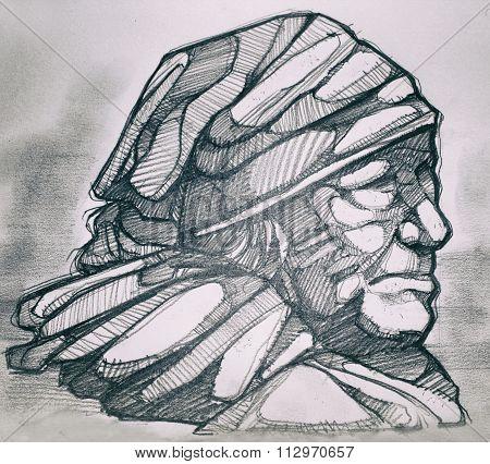Indigenous Woman Pencil Drawing