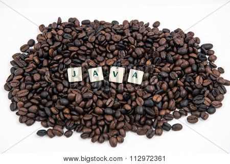 JAVA white cube text on white background AND coffee beans background