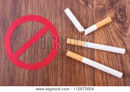 Cigarettes And Prohibition Sign, Healthy Lifestyles Without Cigarettes