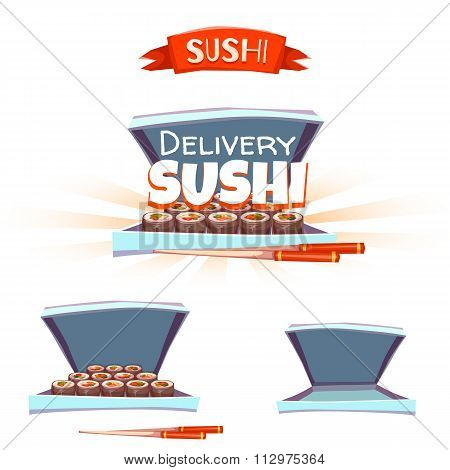 Set of sushi with box and chopstick. Delivery banner. Vector illustration
