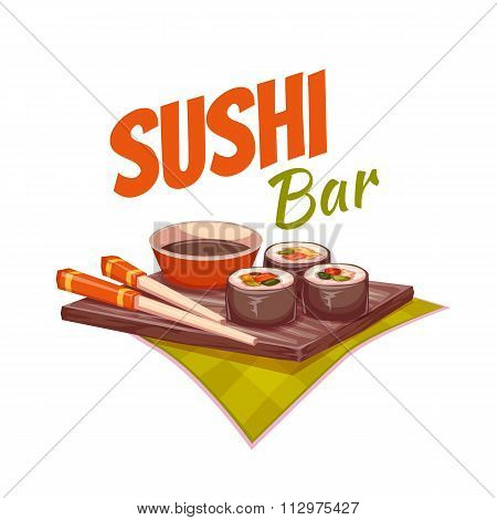 Sushi with sauce and chopstick on plate. Vector illustration