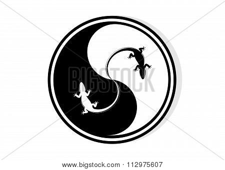 round logo and lizard black and white.