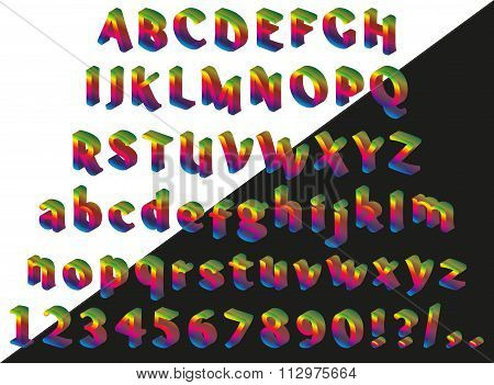 Rainbow isometric font on black background. Alphabet, numbers and punctuation marks. Vector illustra