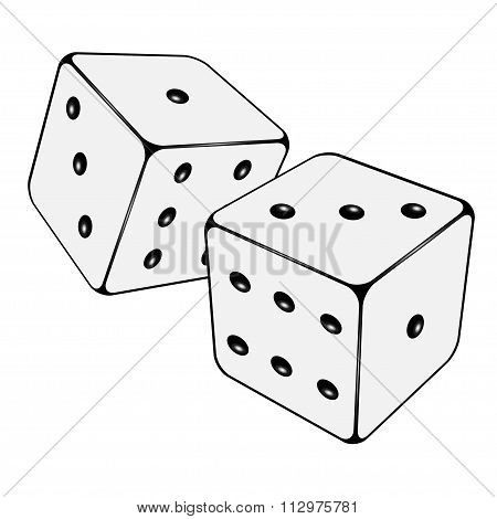 Two Isolated White Dices. Vector Illustration
