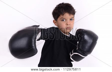 Angry Boxer Kid, Isolate On White Background