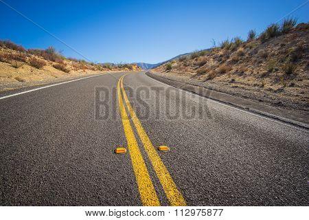 Close Asphalt Bend In Road