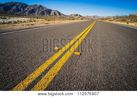 Double Yellow Line On Highway