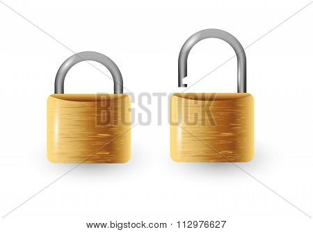 Closed And Open Vector Padlock Vector Illustration