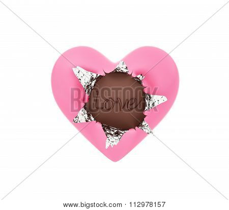 Heart Shape Chocolate With Foil Wrapper