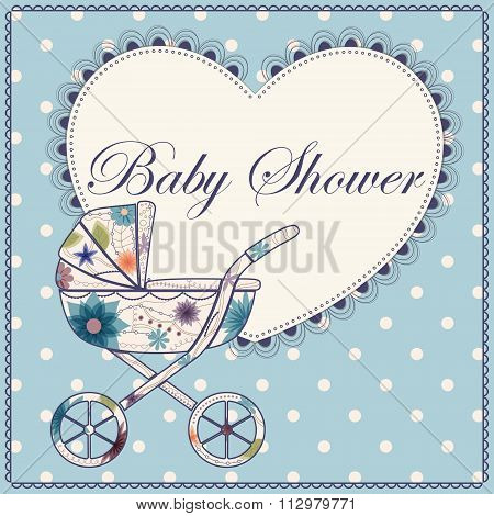 Baby shower with heart and baby carriage  blue vintage