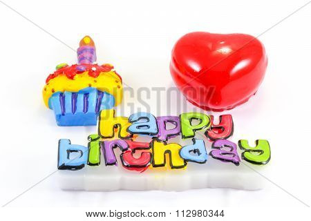 Happy Birth Day Cake Candle Hart
