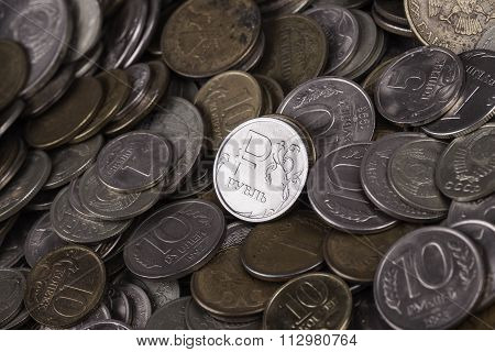 coin ruble among many other coins
