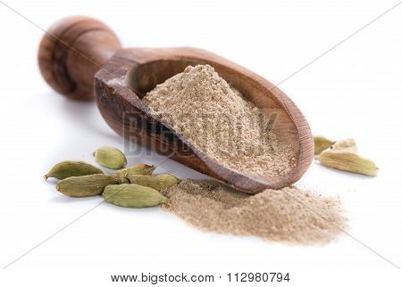Cardamon Powder Over White